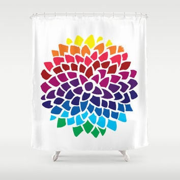 Colorful Shower Curtain - Rainbow Dahlia  - Flower, minimal shower curtain, yellow, blue, red, purple, teal