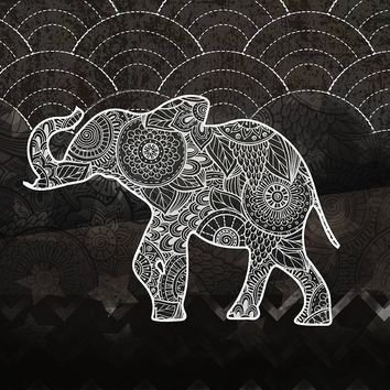 Henna Elephant Black and White Bohemian Tapestry Wall Hanging