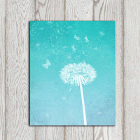 Dandelion art print Turquoise Dandelion wall art Turquoise home decor Bedroom poster Abstract flower art Office wall art INSTANT DOWNLOAD