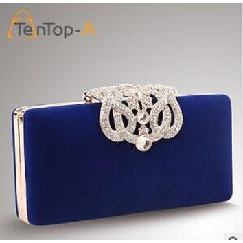 TenTop-A Punk Crown Rhinestone Evening Bags Day Clutches Corduroy Crown Party Bag Wedding Bags With Shoulder Chain 4 Color Stock