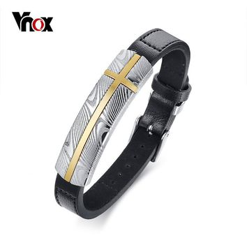 Vnox Top Quality Damascus Textured Stainless Steel Genuine Leather Bracelet Adjustable Bangle