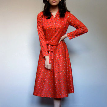 1970s Red Dress Long Sleeve Day Dress 70s Slouchy Polka Dot  Casual Dress - Large L