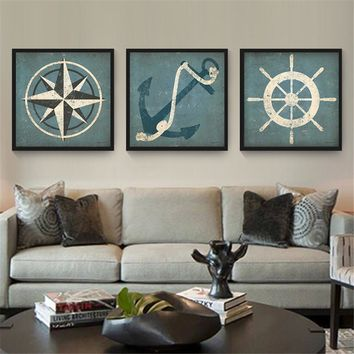 Old Moose Bear Cow Mountain Wall Art Retro Canvas Pictures for Living Room Home Decor Boat Steering Wheel Anchor Vintage Poster