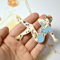 Rockabilly pin-up girl necklace - Bows Jewellery
