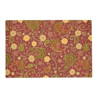 Firebrick Red Orange Flowers Leaves Placemat