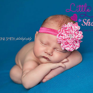 Pink Chevron Baby Girl Headband, Newborn Girl Headband, Hair Clips, newborn photography props - Canada