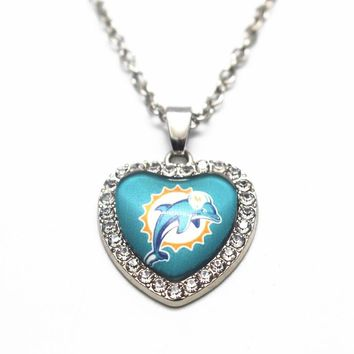 1pcs 50cm Chain Necklace Heart  Crystal Football Miami Dolphins Team Glass Pendant Necklace For Women Necklace DIY Jewelry