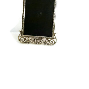 Ornate Picture Frame Easel Back Standing Table Top Silver Picture Frame Vintage Silver 5x7 Metal Frame