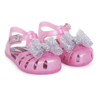 Pink Jelly Sandals with Silver Bow