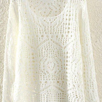 Beige Cut-Out Knitted Sweater