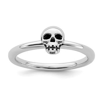 Sterling Silver Stackable Expressions Antiqued Skull Ring
