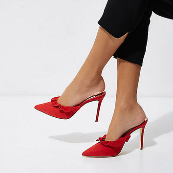 Red suede frill court style mules - Shoes - Shoes & Boots - women