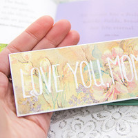 "Gift for Mom, Valentine's Gift, Bookmark with a love message ""Love you, mom"""