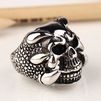 New Punk Rock Biker Rings Jewelry Antique Silver Dragon Claw Ring Men Skull Rings