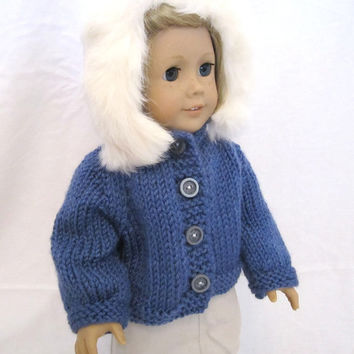American Girl Doll Sweater Fur Hooded Knit Blue