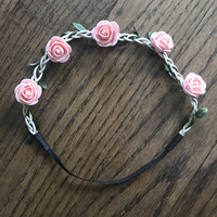 Baby + Little Girls Boho Pink Rose Flower Headband