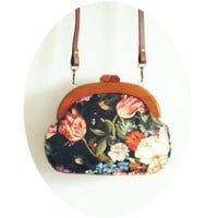 Vintage Wooden Frame Imitation Sheepskin Fabric Clutch Tote Oil Printing Floral Messenger Bags