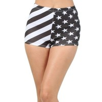 iHeartRaves Black and White American Flag High Waisted Shorts