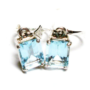 "Topaz earrings, ice blue topaz,  topaz lever backs,  emerald cut, ice blue earrings, topaz dangle earrings,  ""Baby Love"""