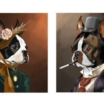 BOSTON TERRIER  gentleman and lady set by rubenacker on Etsy