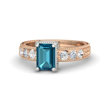 Emerald-Cut London Blue Topaz 14K Rose Gold Ring with White Sapphire & Diamond