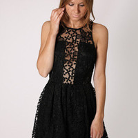 Esther Boutique - grace embroidered high neck cocktail dress- black