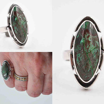 Vintage Taxco Sterling Silver & Bloodstone Modernist Ring, Mexico, Signed, Green, Red, Eagle Mark, Size 5 3/4, Fabulous Stone! #c408