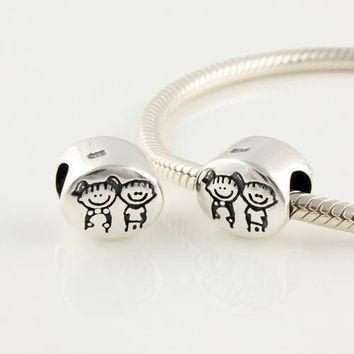 Authentic 925 Silver Beads Fits Pandora Charm Bracelet Girl & Boy Slide Bead European
