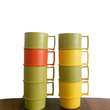 Vintage Tupperware Mugs 1970s Plastic Cups Green, Orange, and Yellow - Set of 8