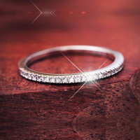 Simple Wedding Band Thin Half Eternity Ring Match Micro Pave AAA Cubic Zirconia Ring For Women Sterling Silver Jewelry 2016 Anel
