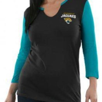ONETOW NFL Jacksonville Jaguars Majestic Women's Game Legend 3/4 Sleeve Shirt