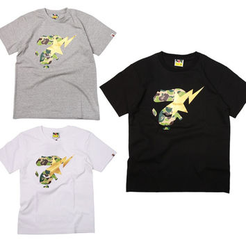 Short Sleeve Camouflage Print Casual Round-neck T-shirts [10141571207]