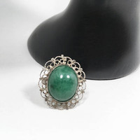 Green Gemstone and Silver Tone Filigree Ring Art Nouveau Style US Size 6 Statement Ring Oval March Birthstone Gift for Her St Patrick's Day