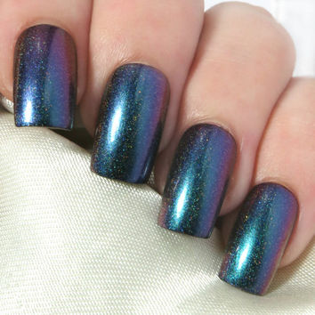 Fake Nails - Press On Nails - False Nails - Acrylic Nails - Glue On Nails - Stick On Nails - Artificial Nails - Teal Holographic Multichrome
