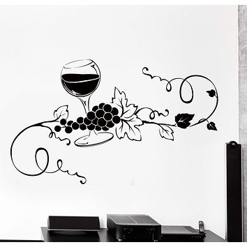 Vinyl Wall Decal Glass Of Wine Vine Grape Kitchen Bar Home Interior Decor Unique Gift z4475