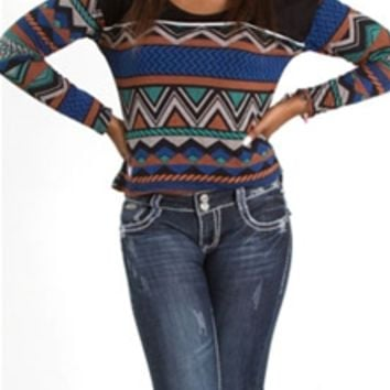 Mind Code Aztec Knit Crop Top T71109