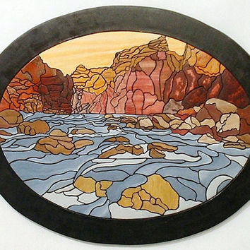 Southwest Abstract Canyon, Wood Sculpture Wall Decor, Wall Hanging  Wall Art