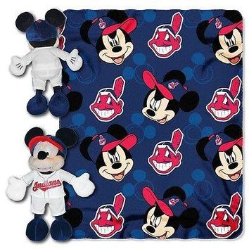 "CLEVELAND INDIANS 40""X50"" DISNEY MICKEY MOUSE HUGGER PILLOW & THROW BLANKET SET"