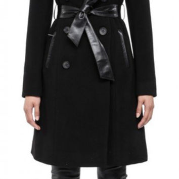 Mackage Devora Double Breasted Wool Coat With Leather Waist Strap