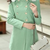Solstice Dreamer Fur Collar Double Breasted Swing Coat in Mint Green | Sincerely Sweet Boutique