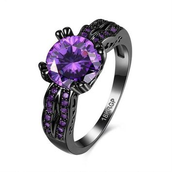ac spbest Women Charming Stone Ring Zircon Fashion Wedding Engagement Jewelry Black Filled Rings Gifts @M130