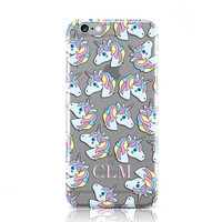 PERSONALISED UNICORN INITIALS V2 HARD CASE COVER FOR APPLE IPHONE MOBILE PHONES