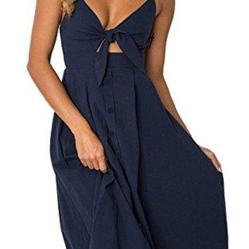 Yidarton Womens DressesSummer Spaghetti Strap Tie Front Button Down Sexy Backless Midi Dress