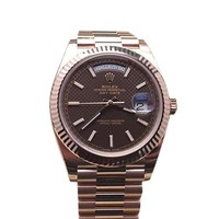Rolex Day-date 40mm Chocolate Diagonal Motif Dial Rose Gold Watch 228235