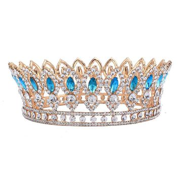 """Bailey"" Blue Rhinestone Princess Crown"