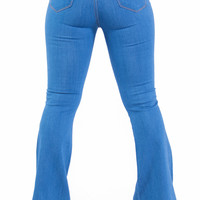 High Waist Wide Leg Bell Bottom Stretch Denim Jeans (Classic Blue)