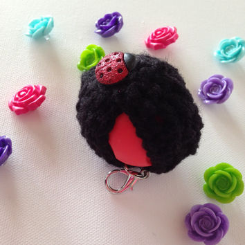 Black EOS Lip Balm Crochet Cozy/Holder with Lady Bug Button Closure and Split Ring/Lobster Clasp for Clip-On