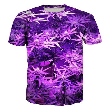 Tee style Purple linen leaves weeds 3D Print T-shirt Creative Short Sleeve Pullovers