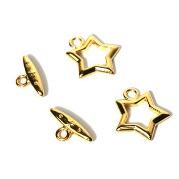 star clasp, gold 15mm toggle, 2 clasps (935FD)