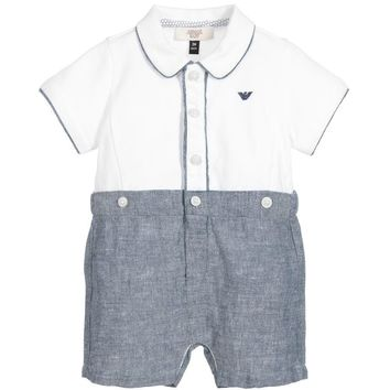 Armani Baby Boys White & Blue Onesuit Gift Set